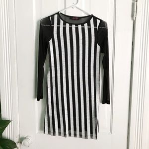 Motel Black and White Sequin Striped Dress